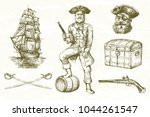 pirate  hand drawn set. | Shutterstock .eps vector #1044261547