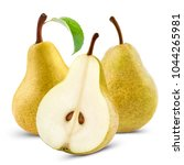 ripe yellow pears with leaf... | Shutterstock . vector #1044265981