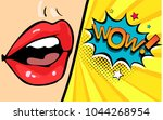female mouth with speech bubble ... | Shutterstock .eps vector #1044268954