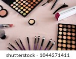 professional makeup brushes and ... | Shutterstock . vector #1044271411
