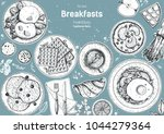 breakfasts top view frame....   Shutterstock .eps vector #1044279364