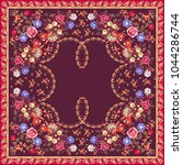 floral ethnic shawl in russian... | Shutterstock .eps vector #1044286744