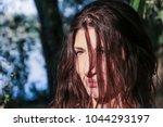 beautiful pagan woman looking... | Shutterstock . vector #1044293197