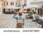 tourist girl walking in the... | Shutterstock . vector #1044307885