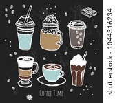 coffee time set. line art.... | Shutterstock .eps vector #1044316234
