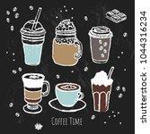 coffee time set. line art....   Shutterstock .eps vector #1044316234