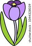 purple crocus flower with long... | Shutterstock .eps vector #1044328039