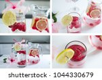 set of four fotos lemonade with ... | Shutterstock . vector #1044330679