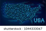 digital map of usa with neon... | Shutterstock .eps vector #1044333067