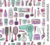 makeup products pattern.... | Shutterstock .eps vector #1044333181