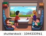 kids girls   boys traveling by... | Shutterstock .eps vector #1044333961