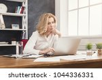 serious businesswoman working... | Shutterstock . vector #1044336331