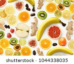 set of assorted fruits isolated ...   Shutterstock . vector #1044338035