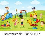 illustration of kids playing at ... | Shutterstock .eps vector #104434115