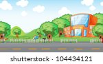 illustration of empty yard and... | Shutterstock .eps vector #104434121