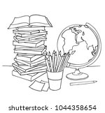 coloring book page  back to... | Shutterstock .eps vector #1044358654