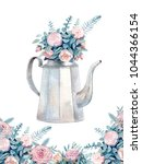 vintage watercolor kettle with... | Shutterstock . vector #1044366154