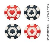 casino chips with card suits... | Shutterstock .eps vector #1044367441