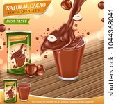 cocoa splashes with nuts ... | Shutterstock .eps vector #1044368041
