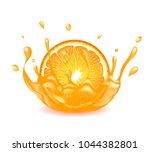 orange with liquid splash on... | Shutterstock .eps vector #1044382801