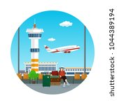 airport icon   view of a flying ... | Shutterstock .eps vector #1044389194