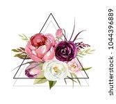 watercolor floral boho... | Shutterstock . vector #1044396889