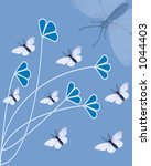 butterflies and flora on blue... | Shutterstock . vector #1044403