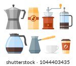 set of coffee elements isolated ... | Shutterstock .eps vector #1044403435