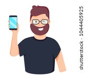 man is showing the phone.... | Shutterstock .eps vector #1044405925
