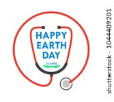 happy earth day logo with... | Shutterstock .eps vector #1044409201