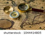retro compass with old map and... | Shutterstock . vector #1044414805