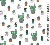 seamless pattern succulents | Shutterstock . vector #1044416557