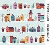 streets of snow covered town in ... | Shutterstock .eps vector #1044416581