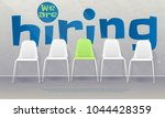 Stock vector we are hiring banner vacant chairs near office wall one of them has green color represent the 1044428359