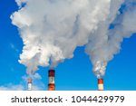 smoking pipes of thermal power | Shutterstock . vector #1044429979