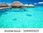water villas in the ocean with...   Shutterstock . vector #104443325