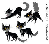 Stock vector set of black cats collection of cartoon cats for halloween lovely playing black kittens vector 1044437575