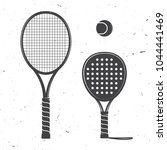 set of tennis rackets and... | Shutterstock .eps vector #1044441469