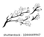 blooming cherry. sakura branch... | Shutterstock .eps vector #1044449947