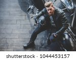 top view of handsome bearded... | Shutterstock . vector #1044453157