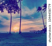 Small photo of Sunset at Ala Moana Park in Honolulu town, Oahu island, Hawaii, USA