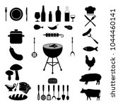 grill or barbecue icons set | Shutterstock .eps vector #1044460141