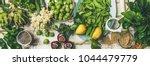 spring healthy vegan food... | Shutterstock . vector #1044479779