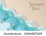 abstract paper art sea or ocean ... | Shutterstock .eps vector #1044487639