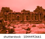 bloody red colored ruins of... | Shutterstock . vector #1044492661
