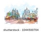 city landmark of edinburgh... | Shutterstock .eps vector #1044500704