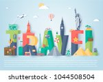 travel composition with famous... | Shutterstock .eps vector #1044508504