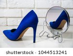 high heels blue. one high heel... | Shutterstock . vector #1044513241
