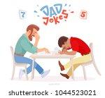 dad jokes battle. two adult men ... | Shutterstock .eps vector #1044523021