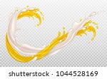 splashes of milk and orange... | Shutterstock .eps vector #1044528169